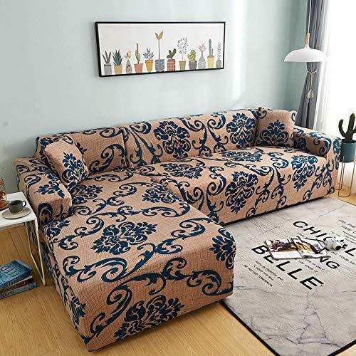 Decorativas Fundas Impresa para Sofas Fundas de sofá de 2 plazas con Estampado de celosía en Forma de L, Fundas elásticas Antipolvo Protectoras de sofá T 145-185cm 1 PCS