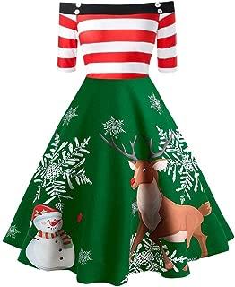 Womens Christmas Off Shoulder Elk Print Evening Party Flare Dress,Stripe Vintage Print Dinner Dress