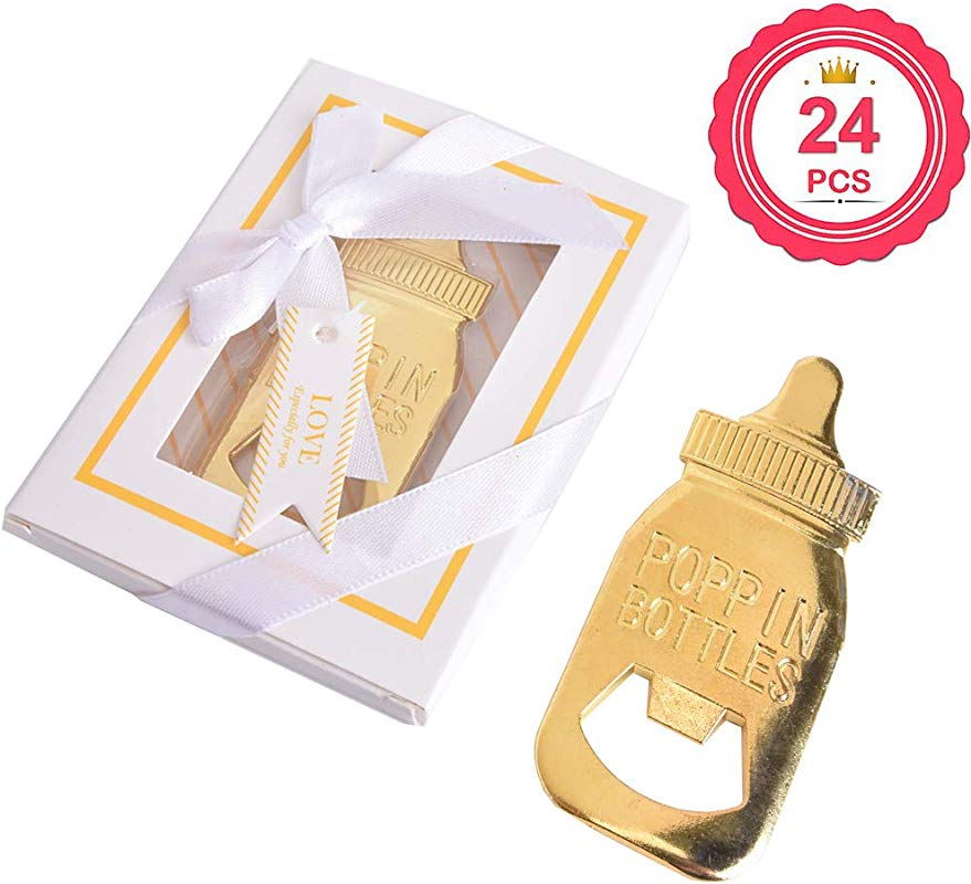 Baby Shower Return Gifts For Guest Supplies Baby Bottle Shaped Bottle Opener With Exquisite Packaging For Guests Party Souvenirs Decorations White 24PCS
