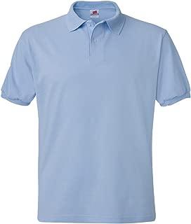Hanes mens 5.2 oz. 50/50 ComfortBlend EcoSmart Jersey Knit Polo(054X)-Light Blue-XL
