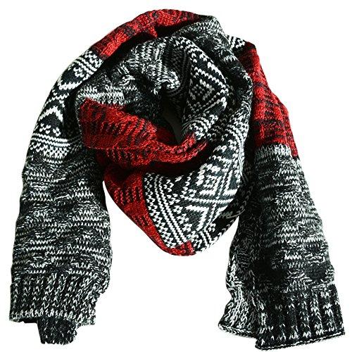 AONER 185 * 32cm Sciarpa Caldo a Maglia Invernale per Uomo Donna Unisex (Rosso Grigio)