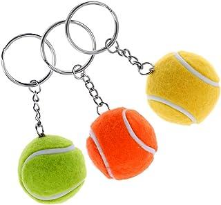 sharprepublic Mini Pelota De Tenis Raqueta Colgante Llavero De Regalo Llavero Plata+Mini Pelota De Tenis Raqueta Colgante Llavero De Regalo Llavero Rojo