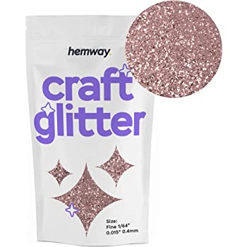 "Hemway Craft Glitter 100g 3.5oz FINE 1/64"" 0.015"" 0.4MM (Rose Gold)"
