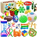 Scientoy Fidget Toy Set, 35 Pcs Sensory Toy for ADD, OCD, Autistic Children, Adults, Anxiety Autism to Stress Relief and Anti Anxiety with Motion Timer, Perfect for Classroom Reward with Gift Box from Scientoy