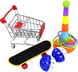 Balacoo 1 Set Parrot Training Activity Toys Interactive Parrot Toy Mini Shopping Cart Training Rings Skateboard Stand Perc...