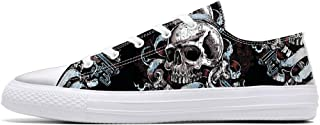 Unisex Skulls Print Canvas Shoes for Men Women Lace Up Fashion Sneakers Custom Shoes