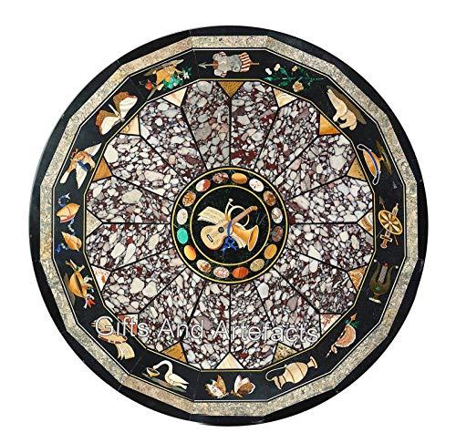 Mesa de comedor Pietra Dura Art redonda con incrustaciones de mano de 152 x 152 cm para hotel y bar