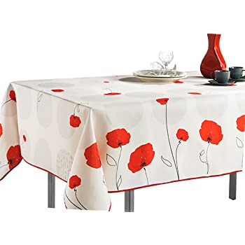 60 x 95 Oblong Tablecloth White Red Flower Stain Resistant