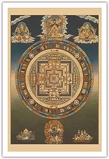 Mandala of Kalachakra (Cycle of Time) - Vintage Thangka Buddhist Painting - Fine Art Print 30in x 44in