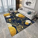 La Alfombra Alfombra Chimenea Alfombra de diseño Abstracto Azul Dorado Antideslizante fácil de Limpiar alfombras recibidor alfombras de Salon 180X250CM