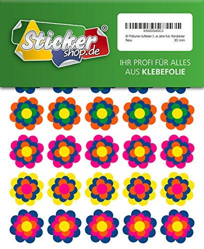 60 Prilblumen Aufkleber 30 mm, Retro Style 70er Jahre Kult, Wandsticker