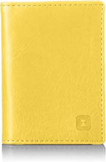 OPTEXX® W7012016Men Women Personal ID Card, Credit Cards, Debit Cards RFID Card Case Charly Vegi Leather Yellow TUV Teste...