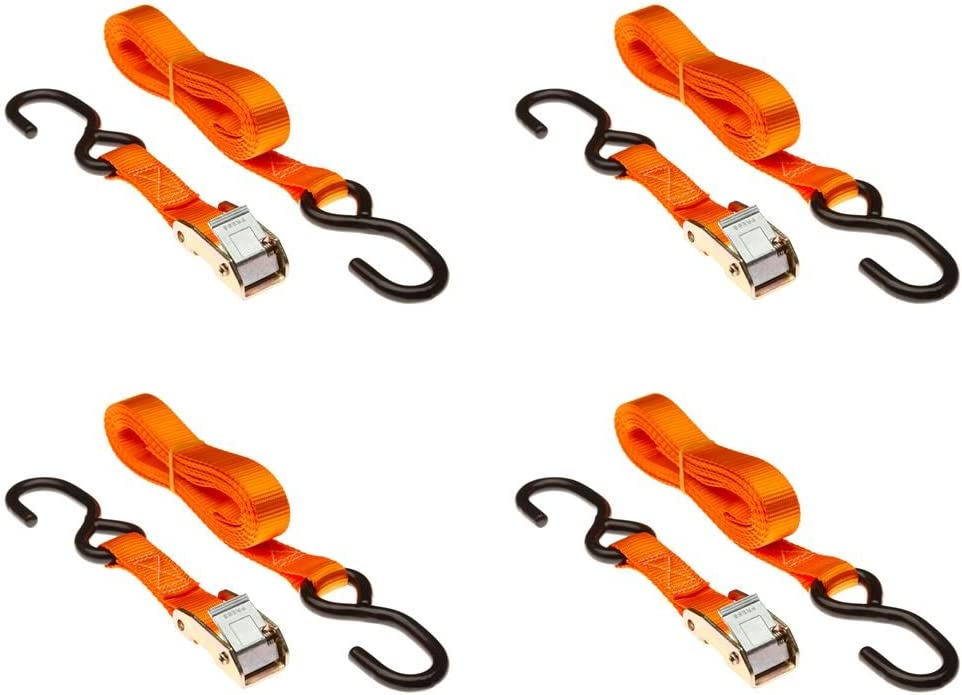 "8-Pack of 1/"" x 6/' Ratchet Straps with S-Hooks"