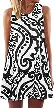 TOPUNDER Vintage Boho Women Summer Dress Sleeveless Beach Printed Short Mini Dress
