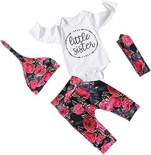 ggudd Niña Bebé Conjunto Camiseta Mono y Floral Pantalones y Sombrero y Bowknot Venda 4 Piezas Set de Ropa por 0-18 Meses