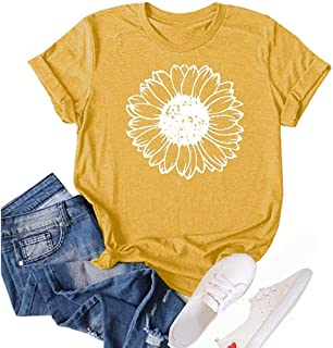 Xhonp Sunflower Graphic Summer T Shirt Plus Size Loose Blouse Tops Girl Short Sleeve Cute Casual Tees