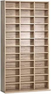 Artiss up to 1116 CDs 528 DVDs Storage Shelf Wooden Adjustable Display Bookshelf Oak - 102(L) x 23.5(W) x 194.5cm(H)