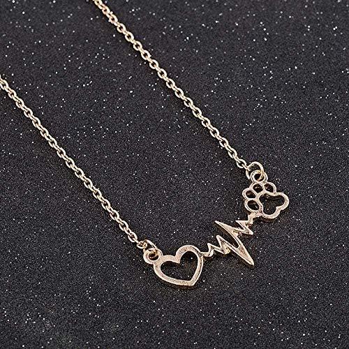 MGBDXG Co.,Ltd Collar Lindo Mascotas Perros Huellas Pata corazón Amor Cadena Colgante Collares y Colgantes joyería para Mujeres Collar Llamativo