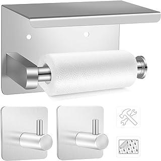 EXLECO Toiletpapierhouder 14 cm SUS304 Rvs toiletrolhouder zelfklevend voor badkamer en keuken