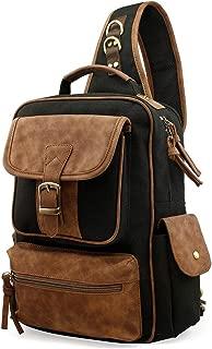 Men Chest Shoulder Sling Backpack Cross body Canvas Messenger Outdoor Travel Daypack