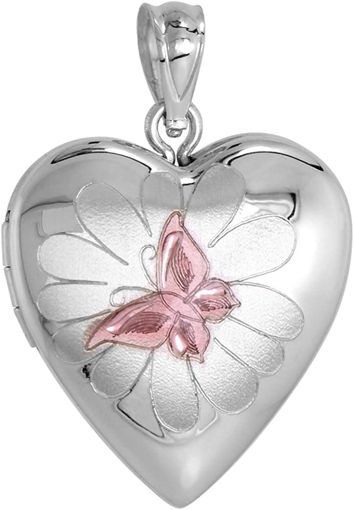 3 4 inch Reservation Sterling Silver Butterfly Flower on for Japan Maker New Locket Necklace