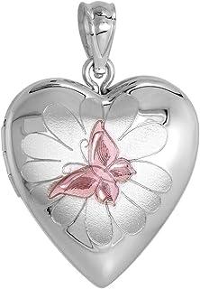 3/4 inch Sterling Silver Butterfly on Flower Locket Necklace for Women Heart Shape Pink Enamel 16-20 inch