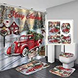 4 Pcs Christmas Shower Curtain Sets with Rugs Red Truck with Xmas Tree Snowmen Farmhouse Shower Curtain Waterproof Bathroom Set with Hooks Toilet Lid Cover Bath Mat