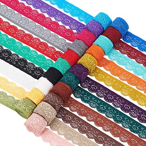 BENECREAT 38m 25mm Encaje Elástico Cinta de Encaje de 21 Colores Surtidos Adorno de Borde de Flores para Costura Artesanal Decoración de Fiesta, Boda, Ropa, 1.8/Rollo