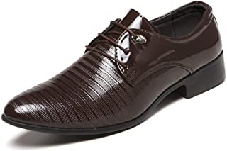 Men's Business Casual Pointed Toe Oxfords Formal Shoes (Color : Brown, Size : 48)