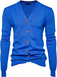 Top Men Cardigan Men Fine Knitted Fashion V-Neck Button Pure Color Simple Men Cardigan Autumn New Long-Sleeved Lightweight...