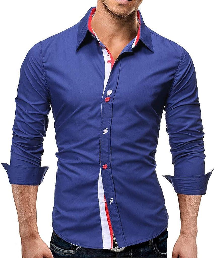 MODOQO Men's Casual Big and Tall Button Down Dress Shirt Long Sleeve Tops