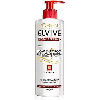 L'Oréal Paris Elvive Low Shampoo Total Repair 5 - Shampoo Delicato Senza Schiuma e Senza Solfati per Capelli Danneggiati o Secchi, 400ml