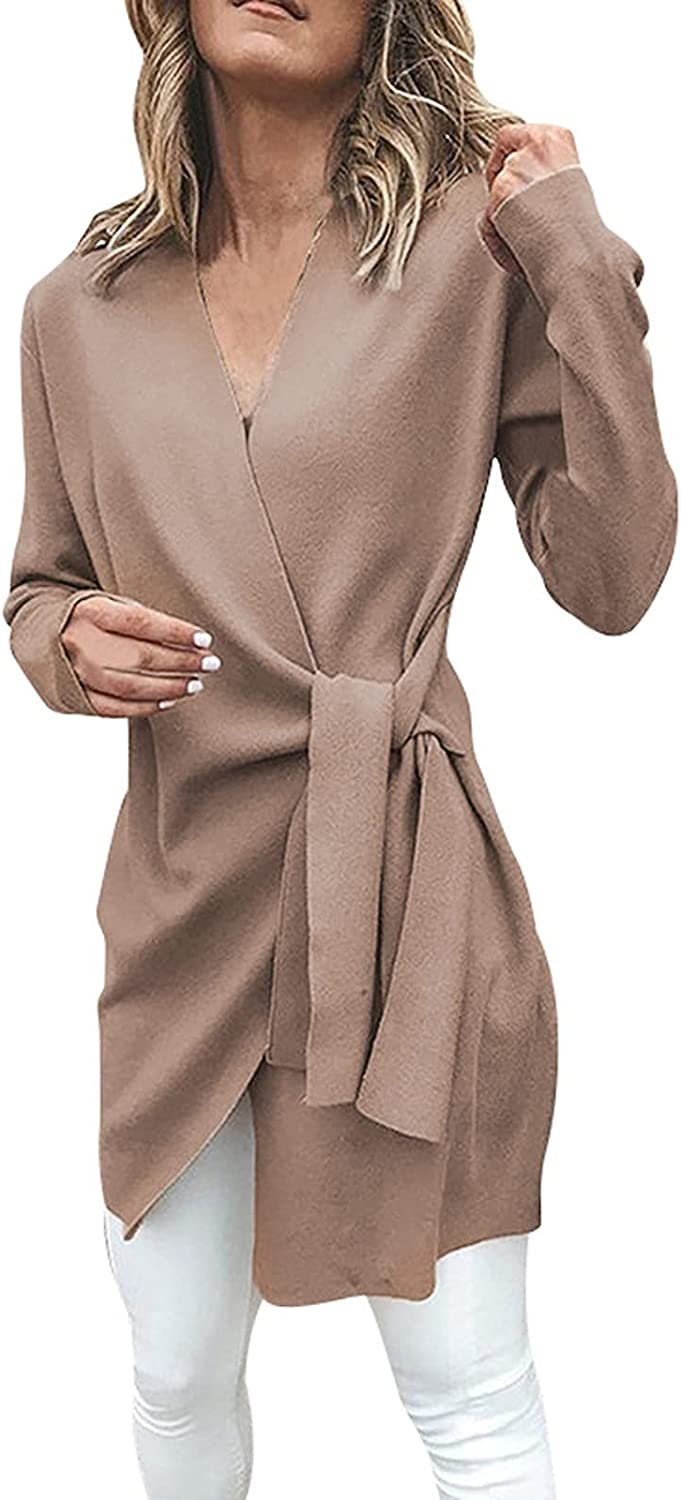Womens Casual Cardigan with Leather Tied Up Open Front Long Sweater Loose Outwear Coat Comfortable Jacket