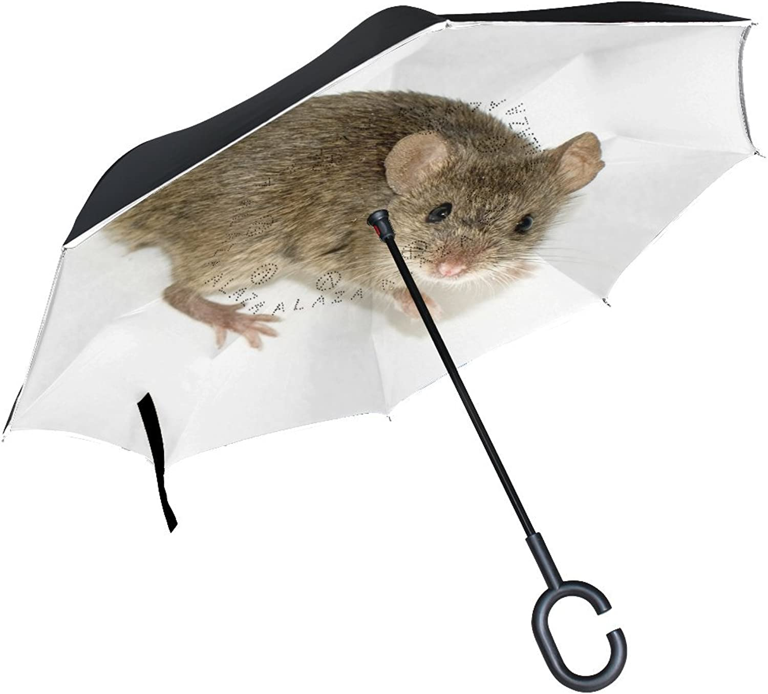 Animal Mouse Roof Rat Adorable Fluffy Small Brown Animated Pet Ingreened Umbrella Large Double Layer Outdoor Rain Sun Car Reversible Umbrella