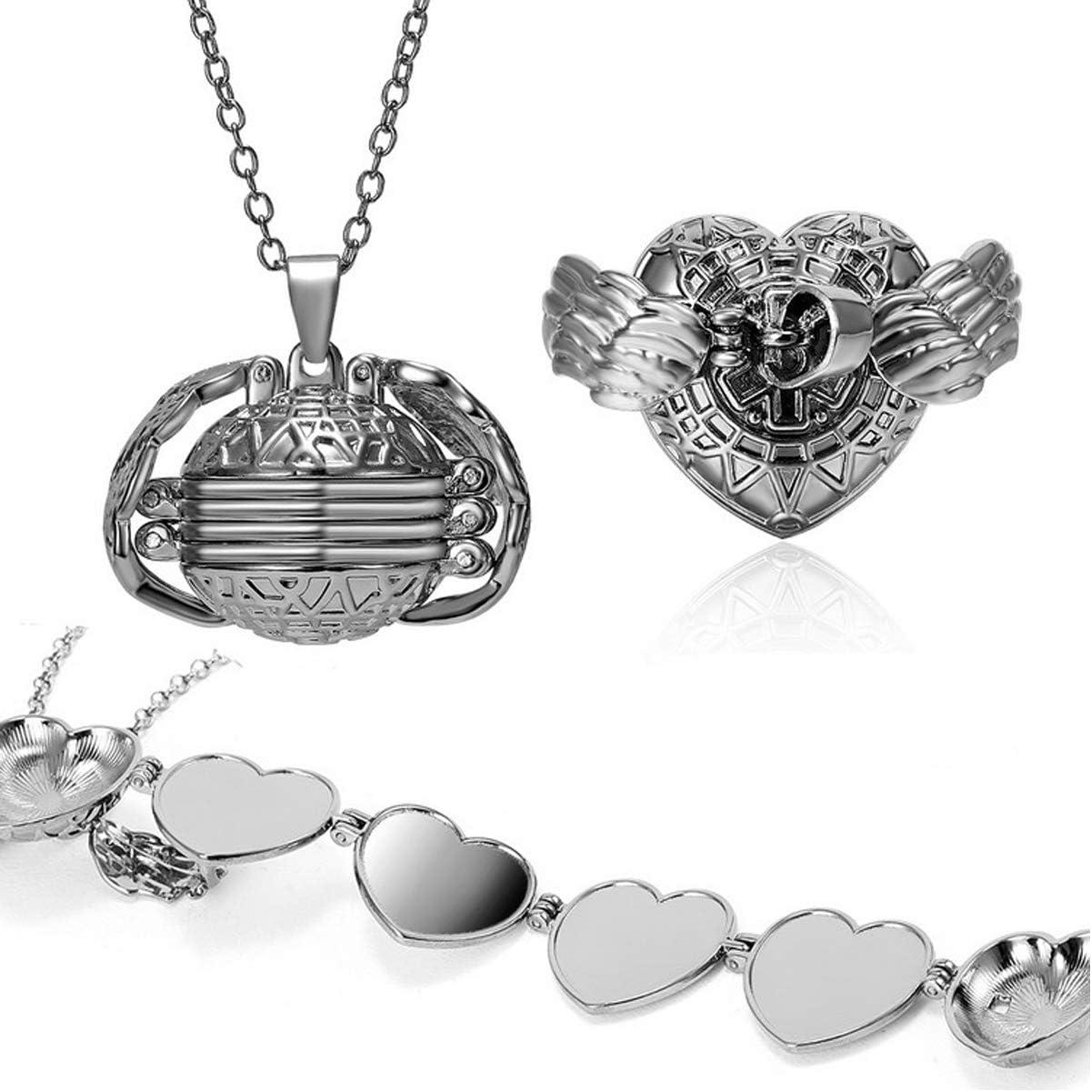 JO WISDOM Expanding Photo Locket Necklace Heart Photo Pendant Ball Locket with Wing Design