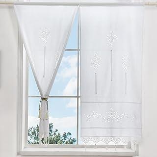 ZHH - 1 par de cortinas, con huecos, floral, algod&