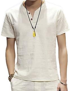 Aaronlive スウェット Vネック 半袖 Tシャツ メンズ 麻 無地 ストリート系 カジュアル 夏服 シャツ