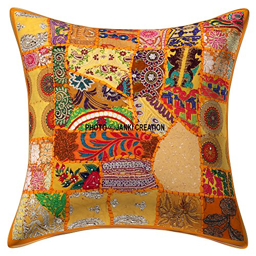 Home Furnishing - Funda de cojín decorativa hecha a mano con bordado de 40,6 x 40,6 cm, diseño indio con lentejuelas bordadas de algodón hecho a man