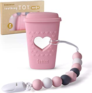 Pandamelon Baby Teething Toys, Coffee Cup Teether with Pacifier Clip Holder Kit, for Newborn Infants, BPA Free Silicone, f...