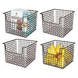 mDesign Juego de 4 cestas organizadoras Multiusos en Alambre de Metal – Versátil Organizador de Cocina, despensa, etc. – Cesta de Metal con Asas para Patatas, latas de conservas y más – Color Bronce
