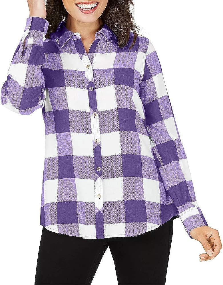 Fisoew Women's Plaid Button Down Shirt Long Sleeve Jacket Blouse Top