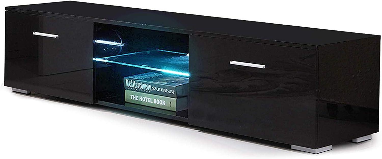 Mecor TV Schrank Fernsehtisch Fernsehschrank TV Lowboard Tisch TV Mbel mit 2 Schubladen Hochglanz inkl. LED Beleuchtung in Schwarz