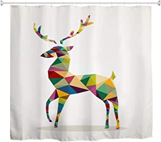 BROSHAN Modern Shower Curtain Reindeer, Colorful Deer Animal Abstract Geometric Pattern Fabric Bathroom Set, Simple White Print Polyester Shower Curtain with Hooks