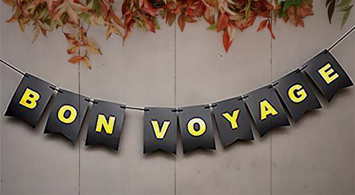 Safe Journey - Bon Voyage Banner – So Long Banner - Retirement Party Decoration - Bon Voyage Decorations Card Stock - Travel Banner - Bon Voyage Sign