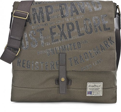 Camp David Unisex Handtaschen, Messengerbags, Messenger, Umhängetaschen, Khaki, 36 x 43 x 12 cm (B x H x T)