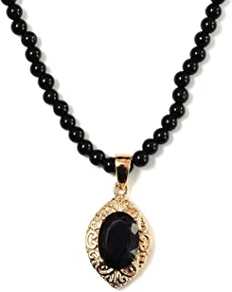 Shop LC Delivering Joy Black Tourmaline Pendant Necklace Stainless Steel Rose Yellow Gold ION Plated Oval Quartzite Bead N...