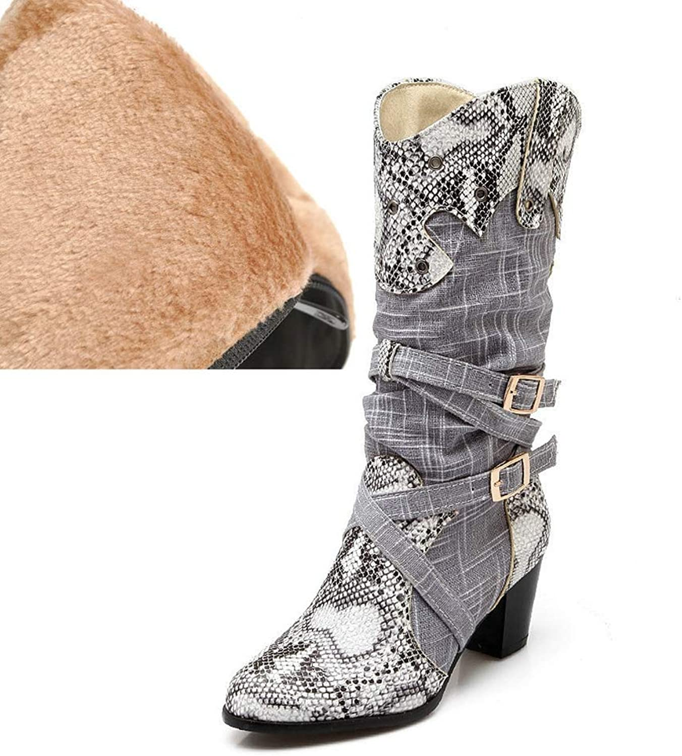 CYBLING Womens Strappy Western Boots Fashion Snakeskin Printed Slouchy Cowboy Mid Calf Boots