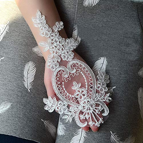2Pcs Lace Fabric Many Colors Choice Organza Embroidered Applique Patch DIY Wedding Dress Accessories Handmade,Off White