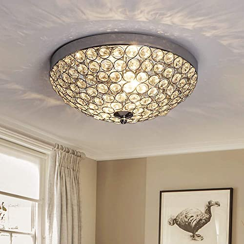 high quality DLLT Modern Flush Mount Crystal Ceiling Light, 2-Light Small Chandelier Close to Ceiling Light outlet online sale Fixtures for Bedroom, Entryway, Foyer, Hallway, Dining Room, Chrome Finish Bowl Shape new arrival Shade E12 online sale