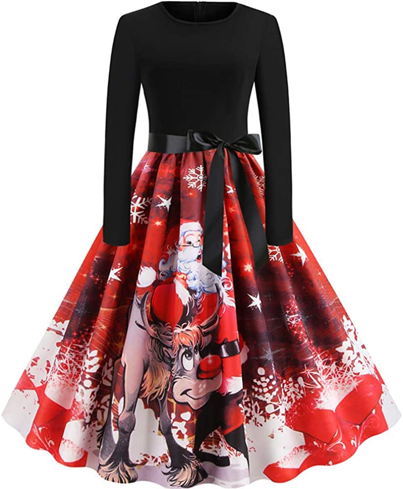 HamLen Christmas Long Sleeve Cocktail Party Dress for Women 1950s Vintage Rock Print A-line Dress with Bow Belt